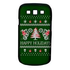 Motorcycle Santa Happy Holidays Ugly Christmas Green Background Samsung Galaxy S Iii Classic Hardshell Case (pc+silicone) by Onesevenart