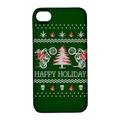 Motorcycle Santa Happy Holidays Ugly Christmas Green Background Apple Iphone 4/4s Hardshell Case With Stand by Onesevenart