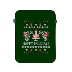 Motorcycle Santa Happy Holidays Ugly Christmas Green Background Apple Ipad 2/3/4 Protective Soft Cases by Onesevenart
