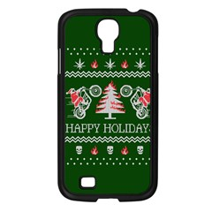 Motorcycle Santa Happy Holidays Ugly Christmas Green Background Samsung Galaxy S4 I9500/ I9505 Case (black) by Onesevenart