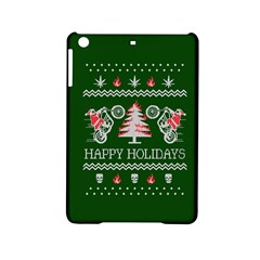 Motorcycle Santa Happy Holidays Ugly Christmas Green Background Ipad Mini 2 Hardshell Cases by Onesevenart