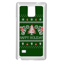 Motorcycle Santa Happy Holidays Ugly Christmas Green Background Samsung Galaxy Note 4 Case (white) by Onesevenart