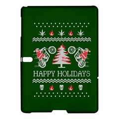 Motorcycle Santa Happy Holidays Ugly Christmas Green Background Samsung Galaxy Tab S (10 5 ) Hardshell Case  by Onesevenart