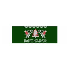 Motorcycle Santa Happy Holidays Ugly Christmas Green Background Satin Scarf (oblong) by Onesevenart