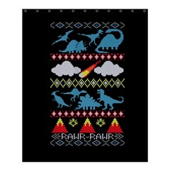 My Grandma Likes Dinosaurs Ugly Holiday Christmas Black Background Shower Curtain 60  X 72  (medium)