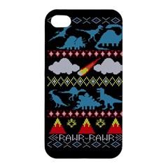 My Grandma Likes Dinosaurs Ugly Holiday Christmas Black Background Apple Iphone 4/4s Hardshell Case by Onesevenart