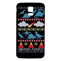 My Grandma Likes Dinosaurs Ugly Holiday Christmas Black Background Samsung Galaxy S5 Back Case (white) by Onesevenart
