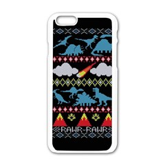 My Grandma Likes Dinosaurs Ugly Holiday Christmas Black Background Apple Iphone 6/6s White Enamel Case by Onesevenart