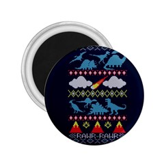 My Grandma Likes Dinosaurs Ugly Holiday Christmas Blue Background 2.25  Magnets by Onesevenart