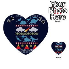 My Grandma Likes Dinosaurs Ugly Holiday Christmas Blue Background Playing Cards 54 (heart)