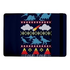 My Grandma Likes Dinosaurs Ugly Holiday Christmas Blue Background Samsung Galaxy Tab Pro 10.1  Flip Case by Onesevenart