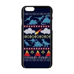 My Grandma Likes Dinosaurs Ugly Holiday Christmas Blue Background Apple Iphone 6/6s Black Enamel Case by Onesevenart