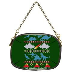My Grandma Likes Dinosaurs Ugly Holiday Christmas Green Background Chain Purses (one Side)  by Onesevenart