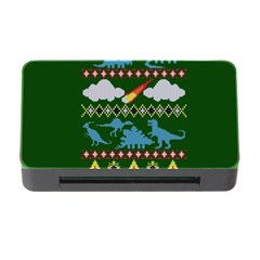 My Grandma Likes Dinosaurs Ugly Holiday Christmas Green Background Memory Card Reader With Cf by Onesevenart