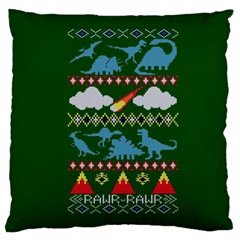 My Grandma Likes Dinosaurs Ugly Holiday Christmas Green Background Standard Flano Cushion Case (One Side) by Onesevenart