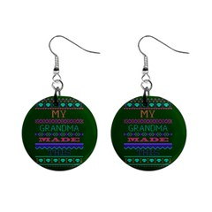 My Grandma Made This Ugly Holiday Green Background Mini Button Earrings by Onesevenart