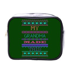 My Grandma Made This Ugly Holiday Green Background Mini Toiletries Bags by Onesevenart