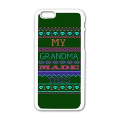 My Grandma Made This Ugly Holiday Green Background Apple Iphone 6/6s White Enamel Case by Onesevenart