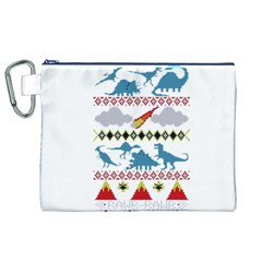 My Grandma Likes Dinosaurs Ugly Holiday Christmas Canvas Cosmetic Bag (xl) by Onesevenart