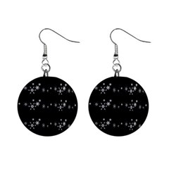 Black Elegant  Xmas Design Mini Button Earrings by Valentinaart
