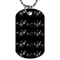 Black Elegant  Xmas Design Dog Tag (two Sides) by Valentinaart