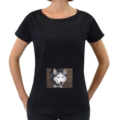 Siberian Husky Blue Eyed Women s Loose-Fit T-Shirt (Black) by TailWags