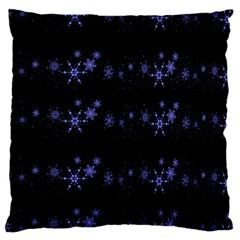 Xmas Elegant Blue Snowflakes Large Cushion Case (one Side) by Valentinaart