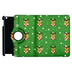 Deer Animals Merry Christmas Apple Ipad 2 Flip 360 Case by AnjaniArt