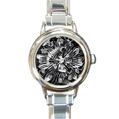 Black And White Passion Flower Passiflora  Round Italian Charm Watch by yoursparklingshop
