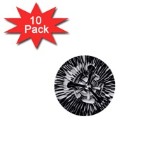 Black And White Passion Flower Passiflora  1  Mini Buttons (10 Pack)  by yoursparklingshop