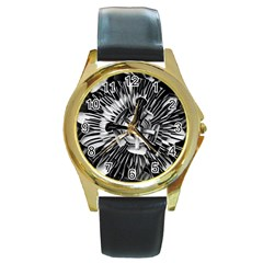 Black And White Passion Flower Passiflora  Round Gold Metal Watch by yoursparklingshop