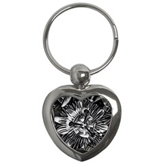 Black And White Passion Flower Passiflora  Key Chains (heart)  by yoursparklingshop