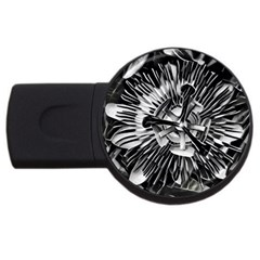 Black And White Passion Flower Passiflora  Usb Flash Drive Round (2 Gb)  by yoursparklingshop