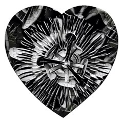 Black And White Passion Flower Passiflora  Jigsaw Puzzle (heart) by yoursparklingshop