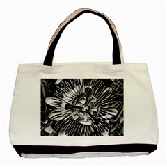 Black And White Passion Flower Passiflora  Basic Tote Bag by yoursparklingshop