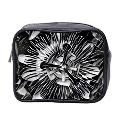 Black And White Passion Flower Passiflora  Mini Toiletries Bag 2 Side by yoursparklingshop