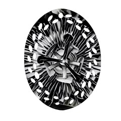 Black And White Passion Flower Passiflora  Ornament (oval Filigree)  by yoursparklingshop