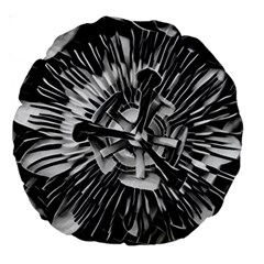 Black And White Passion Flower Passiflora  Large 18  Premium Round Cushions by yoursparklingshop