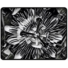 Black And White Passion Flower Passiflora  Double Sided Fleece Blanket (medium)  by yoursparklingshop