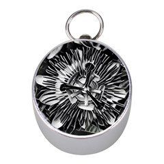 Black And White Passion Flower Passiflora  Mini Silver Compasses by yoursparklingshop