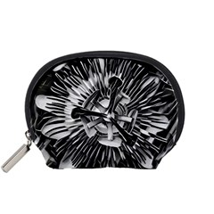 Black And White Passion Flower Passiflora  Accessory Pouches (small)  by yoursparklingshop
