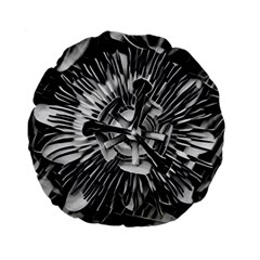 Black And White Passion Flower Passiflora  Standard 15  Premium Flano Round Cushions by yoursparklingshop