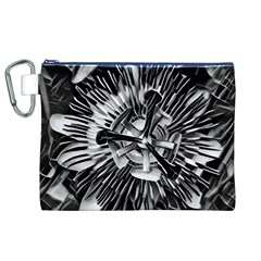 Black And White Passion Flower Passiflora  Canvas Cosmetic Bag (xl) by yoursparklingshop