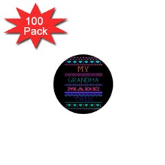 My Grandma Made This Ugly Holiday Black Background 1  Mini Magnets (100 Pack)  by Onesevenart