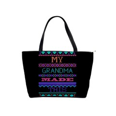 My Grandma Made This Ugly Holiday Black Background Shoulder Handbags by Onesevenart