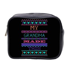 My Grandma Made This Ugly Holiday Black Background Mini Toiletries Bag 2 Side by Onesevenart