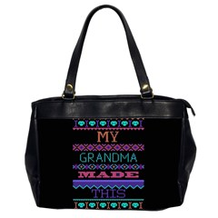 My Grandma Made This Ugly Holiday Black Background Office Handbags (2 Sides)  by Onesevenart