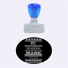 My Grandma Made This Ugly Holiday Black Background Rubber Oval Stamps by Onesevenart