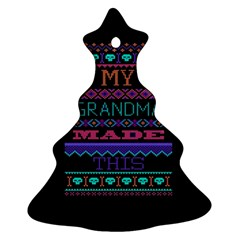 My Grandma Made This Ugly Holiday Black Background Christmas Tree Ornament (2 Sides) by Onesevenart