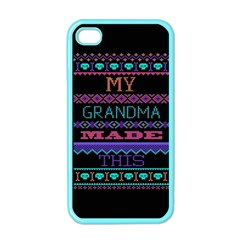 My Grandma Made This Ugly Holiday Black Background Apple Iphone 4 Case (color) by Onesevenart
